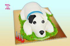 Torta pes 3D, na 3 roky. | Torty Žilina - detské, marcipánové, 3D, a iné torty na objednávku