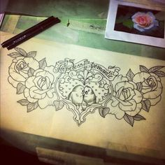 drawing by GUEN DOUGLAS...Hopeless Romantic...I think this would be a really cute chest piece!!