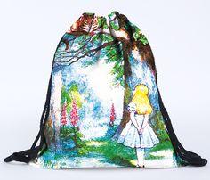 Alice sacchetto di drawstring di modo 3d stampa zaini cartone animato animale Donne zaino in spalla Zaino emoji ragazze viaggiano softback sacchetto Ragazza