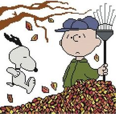 Cross Stitch Knit Crochet Plastic Canvas Waste Canvas Rug Hooking and Bead Work Pattern    Peanuts Snoopy loves to jump in the fall leaves.  Poor Charlie Brown!  https://www.pinterest.com/resparkled/