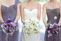 Bridesmaids, Spring, classic, bouquets, bridesmaid, colors, colour, dress, dresses, flowers, lavender, party, purple, details, metallic, biel, jessica, justin, timberlake, wedding, bouquet, Santa Barbara, California