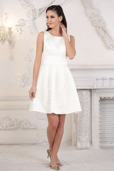 Wedding Dress by SimplyBridal. Susie. This A-line, sleeveless mini dress oozes elegance and sophistication.  The high neck makes it acceptable to be worn at a range of wedding venues. It has a back zipper and cute bow detailing on the back. This dress can also be dressed with fine jewelry or . USD $99.99