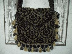Victorian Gothic Bag Purse Black and Gold by ZojjaUniquelyYou, $63.00