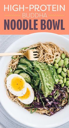 Soba noodles are gluten-free noodles made from buckwheat flour — and they're loaded with protein and fiber. A cup of edamame also packs 17g of protein. But watch the noodles when you're cooking them: although hearty, these noodles can overcook very easily. As soon as you strain them, rinse them under cold water to get rid of the sticky coating and prevent them from getting mushy.Amount of protein per serving: about 21 grams