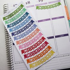 Includes one sheet of glossy weekend banners die-cut stickers!    Colors are selected to match the color palette in Erin Condren Life Planners!