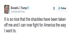 """Top News: """"USA: 'It's So Nice The Shackles Have Been Taken Off Me' - Trump"""" - http://politicoscope.com/wp-content/uploads/2016/10/Donald-Trump-USA-Election-News-790x395.jpg - Donald Trump tweeted, """"I can now fight for America the way I want to.""""  on Politicoscope - http://politicoscope.com/2016/10/11/usa-so-nice-the-shackles-have-been-taken-off-me-trump/."""