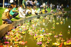 Releasing Loi Krathong floats along a river bank in Chiang Mai River Bank, Once In A Lifetime, Travel Memories, Chiang Mai, Thailand, Religion, Culture, In This Moment, Album