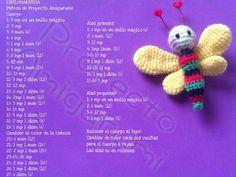 Mariposa Crochet Bee, Crochet Butterfly, Crochet Gifts, Crochet Motif, Crochet Dolls, Free Crochet, Amigurumi Patterns, Amigurumi Doll, Crafts