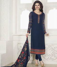 Buy Prachi Desai Navy Blue Georgette Churidar Suit 77626 online at lowest price from huge collection of salwar kameez at Indianclothstore.com.