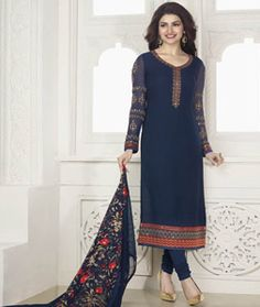 Buy Prachi Desai Navy Blue Georgette Churidar Suit 77626 online at lowest price from huge collection of salwar kameez at Indianclothstore.com.