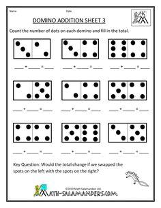 printable kindergarten worksheets | printable kindergarten math worksheets domino addition 3