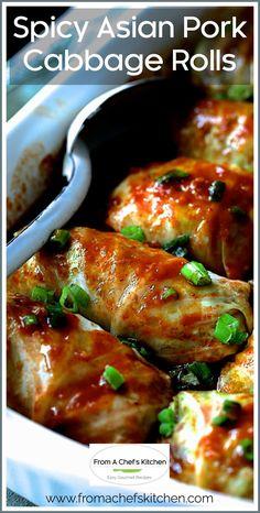 Pork And Cabbage, Cabbage Recipes, Pork Recipes, Asian Recipes, Chicken Recipes, Cooking Recipes, Healthy Recipes, Chinese Recipes, Asian Cabbage Rolls Recipe