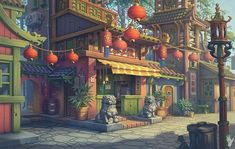 Chinese landscape illustration art of animation 35 New Ideas Environment Concept Art, Environment Design, Fantasy Landscape, Fantasy Art, Chinese Landscape, Wallpaper Kawaii, Game Background, Street Background, Scenery Wallpaper