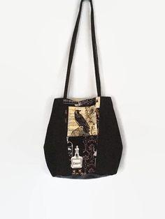 Large Gothic Shoulder Bag, Black Denim Tote Bag, Raven Shoulder Bag Denim Shoulder Bags, Small Shoulder Bag, Mother's Day, Denim Tote Bags, Gothic, Handmade Bags, Etsy Handmade, Cloth Bags, Large Bags