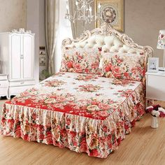 Buy Flower Pattern Beige Brushed Microfiber Ruffled Bed Skirt & 2 Pillowcases Set, Twin/Full/Queen/King Size at Wish - Shopping Made Fun Ruffle Bed Skirts, Ruffle Bedding, 3d Bedding Sets, Comforter Sets, Bedroom Colors, Bedroom Decor, Beds For Sale, Slipcovers For Chairs, Diy Bed