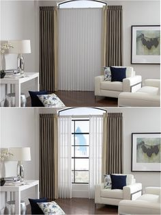 Lafayette Sheer Visions White Vertical Blinds Living Room Ideas Window Treatments Combined To