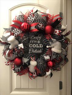 Red & black Deco mesh wreath