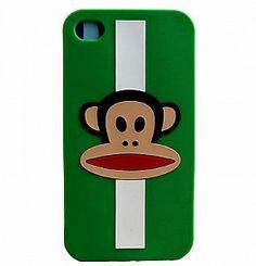 iPhone 4 Silicone Case -Stylish Paul Frank Stripe(Green)