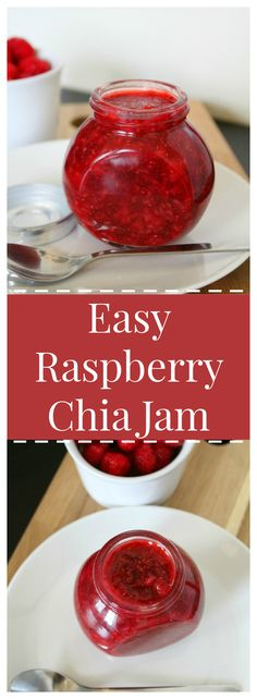Easy Raspberry Chia Jam – Delicious and simple jam with fresh raspberries and chia seeds.  No refined sugar and perfect on a slice of toast!