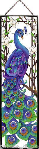 REGAL PEACOCK  Stained Glass Art Panel 37.5 x 10.5  Estate Bird Birds Blue