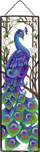 REGAL PEACOCK  Stained Glass Art Panel 37.5 x 10.5  Estate Bird Birds Blue