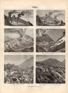 1897 Volcanoes Antique Print Magma Volcanic Ash by Craftissimo, €11.95