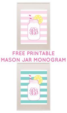 FREE printable mason jar monogram - type in your own monogram and print! #freeprintable