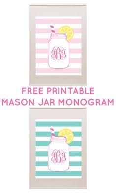 FREE printable mason jar monogram - type in your own monogram and print! #freeprintable