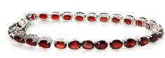 Genuine Red Garnet Bracelet  28.00 carats 8 inches  STERLING SILVER MOTHER'S DAY #garnet #Tennis