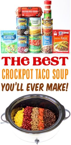 Crockpot Dishes, Crock Pot Cooking, Hamburger Crockpot Recipes, Taco Soup Crockpot Recipe, Taco Soup Recipes, East Crockpot Meals, Crock Pot Dinners, Chicken Recipes, Easy Cooking