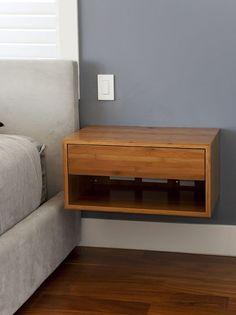 Floating nightstand in guest room