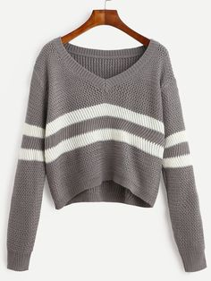 de55e7459a35 Dotfashion Grey Striped V Neck Crop Tops Female Long Sleeve Pullovers 2016  Autumn Casual Knit Wear Sweater