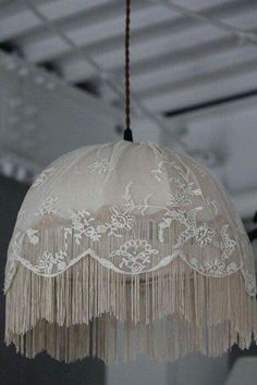 #Shabby Chic~ Lovely lace lampshade/hanging lamp