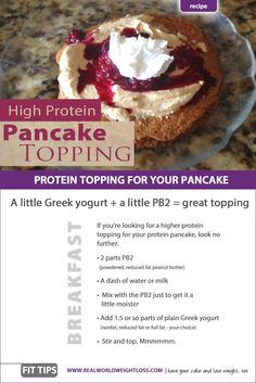 A quick, high protein topping for your healthy protein pancakes. Pancakes are not just for breakfast anymore.