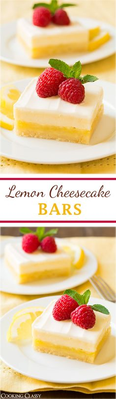 Cheesecake Lemon Bars - these are the ULTIMATE spring dessert! Lemon bars meets cheesecake. 4 layers of utter decadence and you're going to LOVE them!