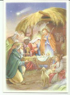 Imagen de la Adoración de los reyes al Niño Dios, en tarjeta de tarjecolsa