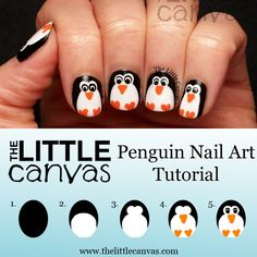 thelittlecanvas:  Want the penguins on your nails? Follow the tutorial! 1. Paint your nail with your favorite black polish 2. With your favorite white polish, add the white belly using the polishes brush. You could also use a nail art brush if you prefer. I just painted 3/4 of the nail as if I were painting it like my regular nail. 3. With my larger dotting tool, add two white dots for the eyes. 4. As the eyes and belly are drying, with a nail art brush, add the beak with your…