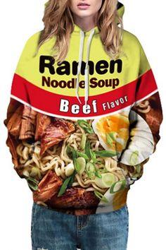 Oversized Unisex Ramen Noodle Soup Beef 3D Print Hooded Long Sleeve Hoodie
