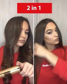 Unique Braided Hairstyles, Teen Hairstyles, Beauty Skin, Hair Beauty, Curls With Straightener, Girl Life Hacks, Hair Affair, Brunette Hair, Hair Tools