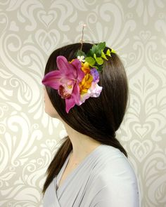 Fuchsia Orchid Flower Hair Clip Tropical Flower by RuthNoreDesigns