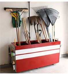 We have 3 old metal filing cabinets, this is a great idea to repurpose them.  But I think I'll but our sports equipment (bats, hockey sticks, etc.) in this instead.