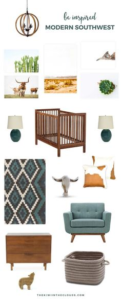Southwest Baby Nursery Decor   Embrace the natural beauty of the southwest with this modern and stylish nursery for boys and girls. Click through for all the details.