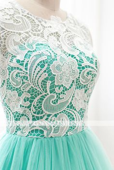 Custom Elegant White Lace High neck Mint Green Tulle A by Everisa
