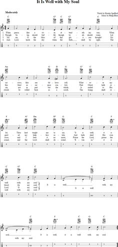 Free mandolin sheet music for It Is Well With My Soul with chord diagrams, lyrics, and tablature. This music will also work on tenor banjo in GDAE tuning. Banjo Tabs, Guitar Chords For Songs, Music Chords, Violin Sheet Music, Bass Guitar Lessons, Ukulele Chords, Music Music, Ukulele Fingerpicking Songs, Fingerstyle Guitar