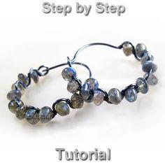 Jewelry tutorial wire wrapped gemstone hoops earrings by Arctida, $7.00