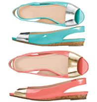 Peep-Toe Slingback Sandal- Patent-like upper with metallic-color accent. Comfort slingback with stretch inset. Padded footbed. Regularly $29.99, buy Avon shoes online at http://eseagren.avonrepresentative.com