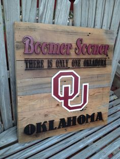 """OKlahoma """"There is Only One"""" OU 23"""" x 23"""" approx. Item #624 on Etsy, $85.00"""