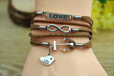 Fashion cuff braceletsilvery alloy anchor & bird love by Richardwu, $6.50
