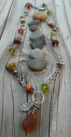 Harvest Necklace Sea Glass Beaded Charm by ArtandSoulJewelry
