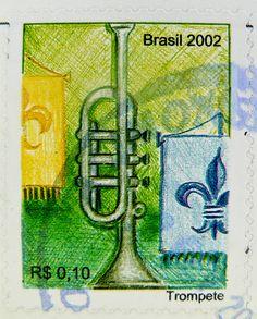 Brasil Brazil stamps $ 0.10 trumpet correio trompet postage revenue porto brasil timbre Brasile  selo de correio sello de correo frimaerke  bollo sello marke brasilien Trompete briefmarke 巴西 邮票 yóupiào Bāxī Бразилия марка by stampolina, via Flickr